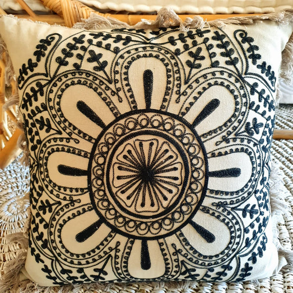 Embroided Flower Motif Soft Cotton Cushions