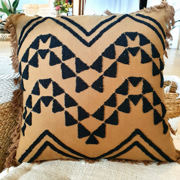 Embroided Motif On Soft Brown Cotton Cushion With Fringe