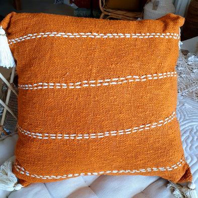 White Line Stitch Motif Raw Cotton Cushion With Tassels