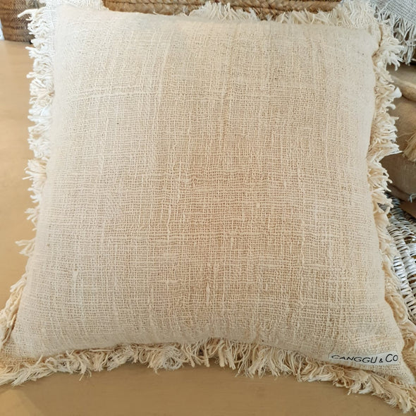 Natural & White Colored Raw Cotton Cushions With Fringe