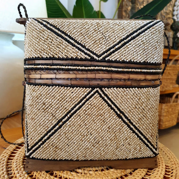 Bamboo Bag With Beaded Motif And Shells