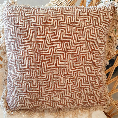 Coral Print Pattern Cotton Cushion With Fringe