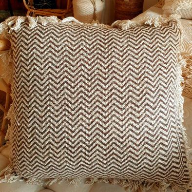 Tropical Zigzag Motif Cushions With Fringe
