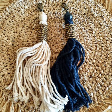 Long Gold Beaded Key Chains With Tassels