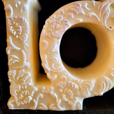 Embossed Love Shaped Natural Beeswax Candle