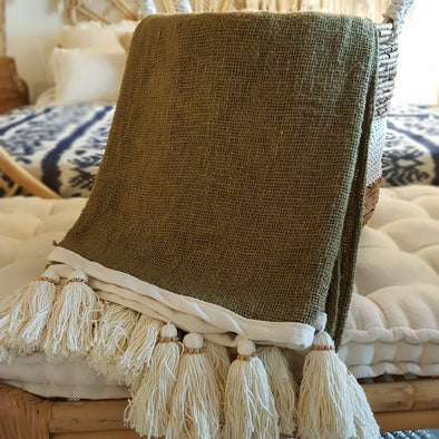 Forest Green Raw Cotton Throw With Natural Beaded Tassels