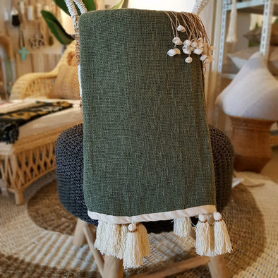 Dark Green Raw Cotton Throw With Natural Beaded Tassels