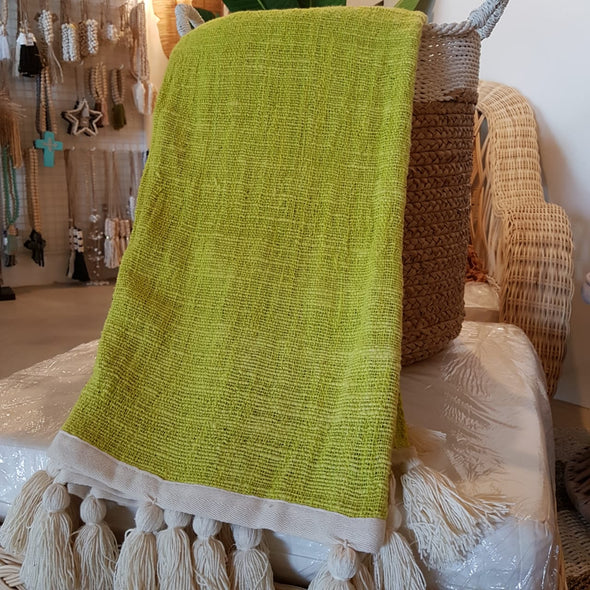 Lime Yellow Raw Cotton Throw With Natural Tassels