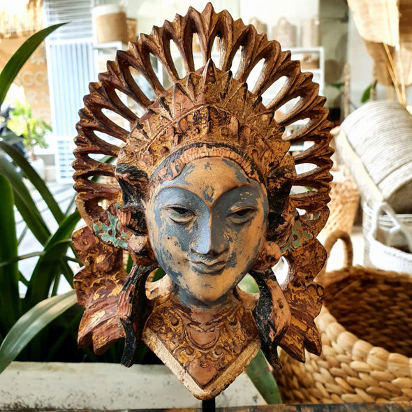 Gold & Blue Antique Balinese Carved Wooden Mask