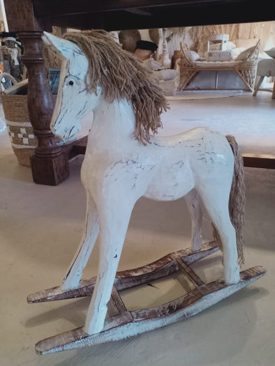 Antique Carved Wooden Rocking Horses With Manes