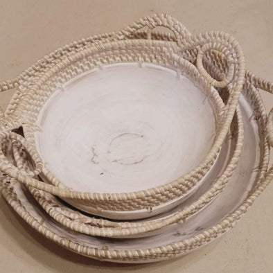 Small Whitewash Round Wooden Bowl Or Tray with Rattan Handles