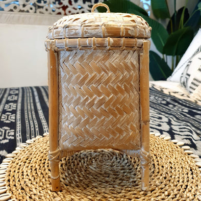 Small Round Bamboo Rice Box With Lid