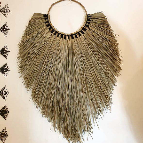 Leaf Shaped Long Grass Straw Wall Decor With Woven Black Cotton