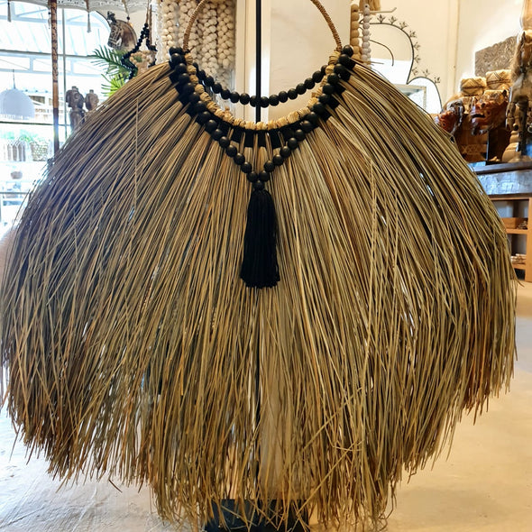 Half Round Natural Straw Grass Wall Decor With Woven Black Cotton