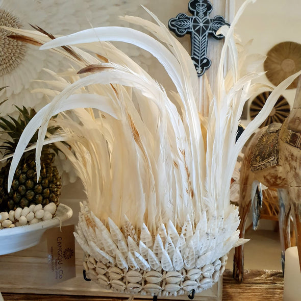 Tribal Feather & Shell Headdress With Stand