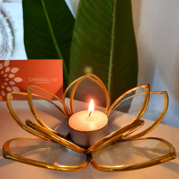 Glass & Brass Lotus Flower Tea Light Candle Holder