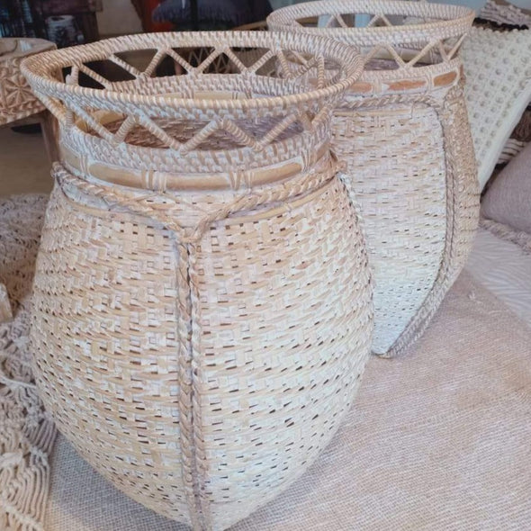 Medium Sized Whitewash Round Rattan Baskets
