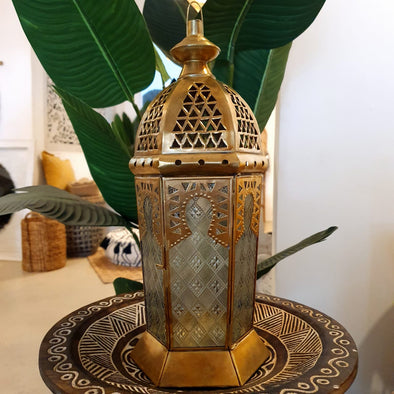 Arabic Style Golden Brass Candle Holder With Patterned Glass