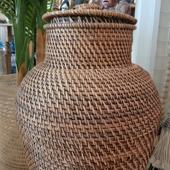 Tall Rattan Cylinder Shaped Basket With Lid
