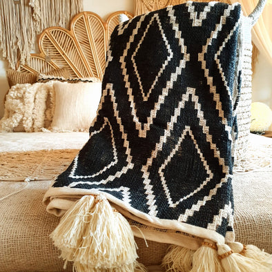 Black Diamond Motif Raw Cotton Throw with Beaded Tassels