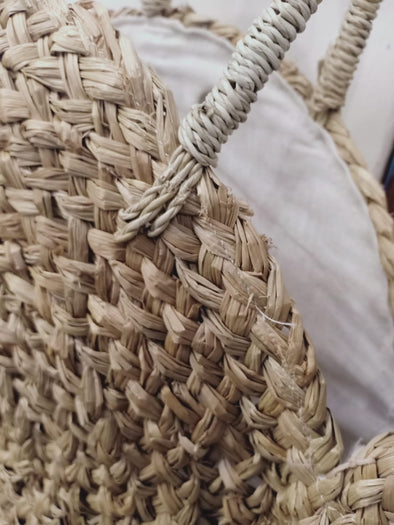 Natural Woven Straw Grass Round Bag