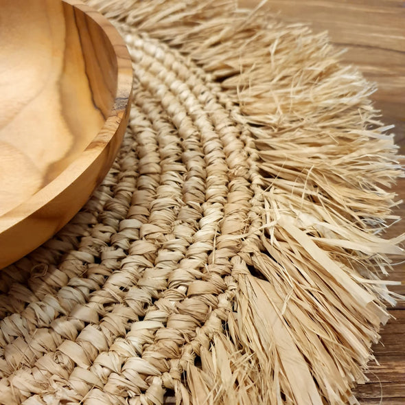 Large Sized Round Straw Grass Dining Placemats With Fringe