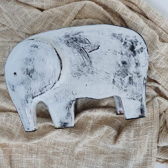 Carved Pottery Elephant Decor Set