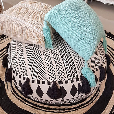 Round Aztec Pattern Cotton Linen Zippered Pouff With Tassels - Canggu & Co