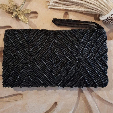 Black Diamond Pattern Woven Beaded Clutch With Strap - Canggu & Co