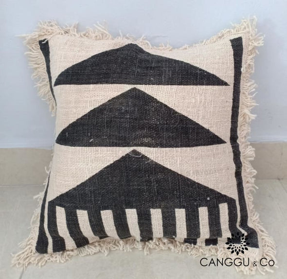 Abstract Nika Motif Cotton Cushion With Fringe 40X40
