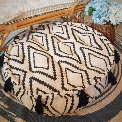 Round Diamond Pattern Raw Cotton Pouff With Tassels - Canggu & Co