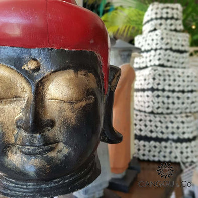 Antique Black & Red Wooden Buddha Head Wooden
