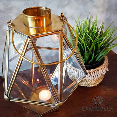 Antique Brass & Glass Terrarium Candle Holders In Gold Or Black Holder