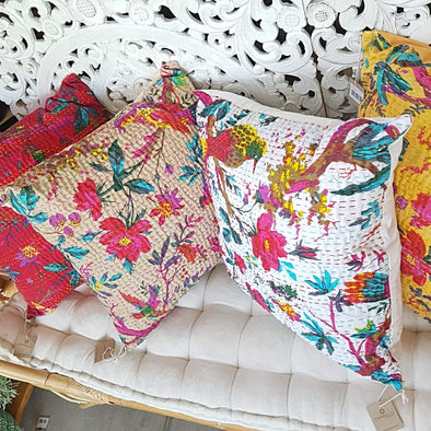 Embroided Multi-Color Soft Cotton Cushions - Canggu & Co