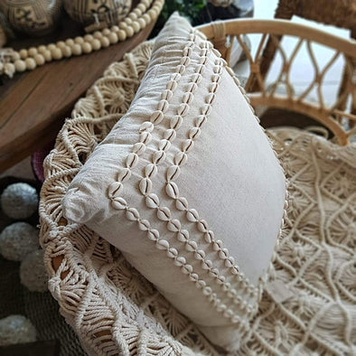 Shell Lined Cotton Linen Cushion - Canggu & Co