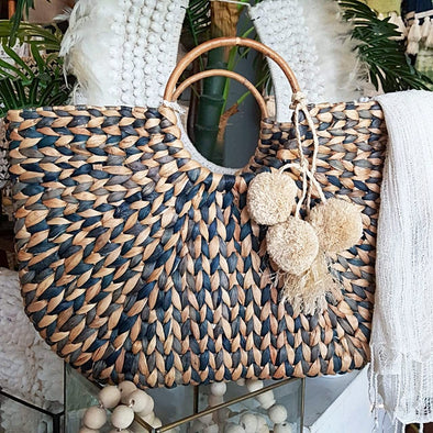 Blue & Natural Woven Banana Leaf Bag With Grass Pom-Poms - Canggu & Co