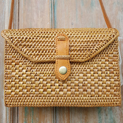 Woven Natural Rattan Rectangle Shaped Bag With Leather Strap - Canggu & Co