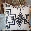 Black And White Aztec Motif Raw Cotton Cushion