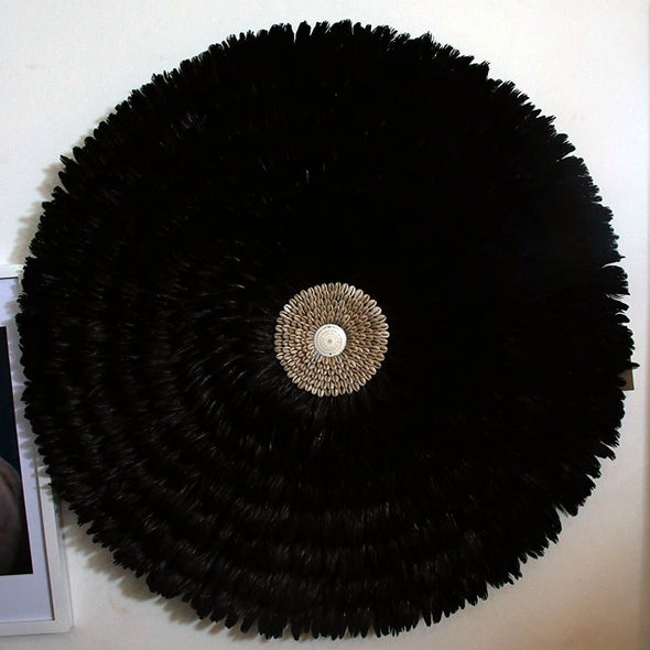 Black Hanging Feather Deco with Coffee Bean Sea Shell - Canggu & Co