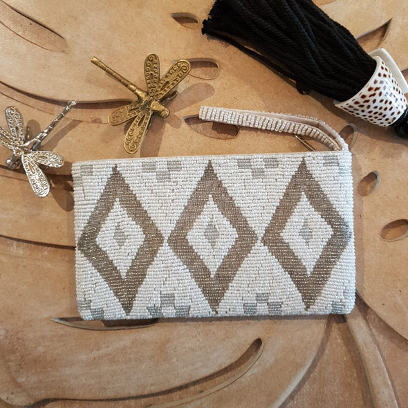 White, Silver & Gold Diamond Pattern Woven Beaded Clutch With Strap