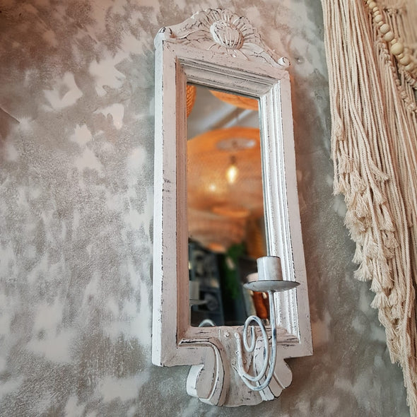 Whitewashed Antique Wooden Wall Mirror With Candle Holder