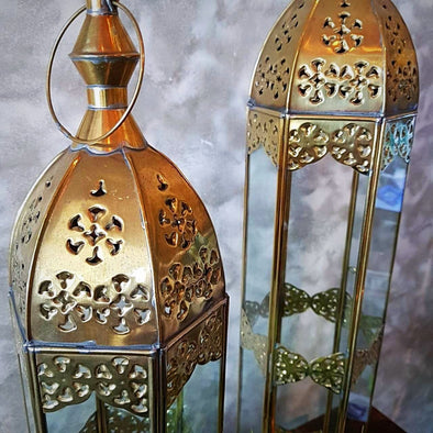 Arabic Style Tall Gold Brass Candle Holders - Canggu & Co