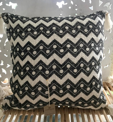 Natural Raw Cotton Cushions With Abstract Motifs & Tassels - Canggu & Co