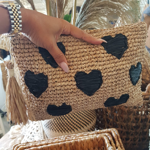 Natural Woven Straw Grass Clutch With Black Hearts