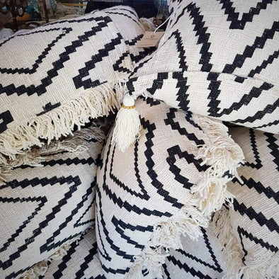 Black Diamond Motif Raw Cotton Cushions With Fringe - Canggu & Co