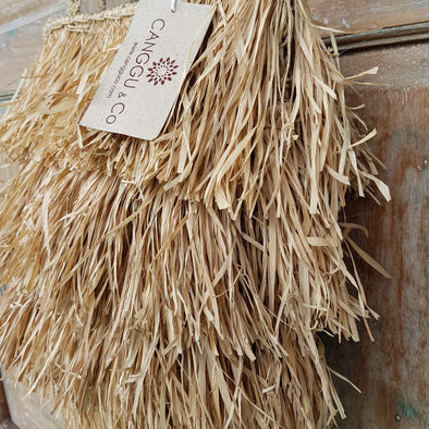 Natural Long Fringe Straw Grass Bag - Canggu & Co