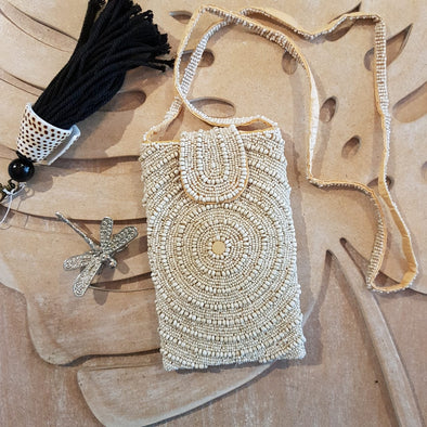 White Circle Pattern Woven Beaded Clutch With Long Strap