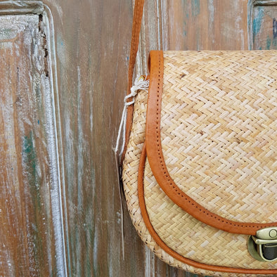 Rattan & Leather Half Round Shoulder Bag - Canggu & Co
