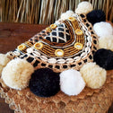 Natural Palm Leaf Clutch With Poms, Beads & Shells