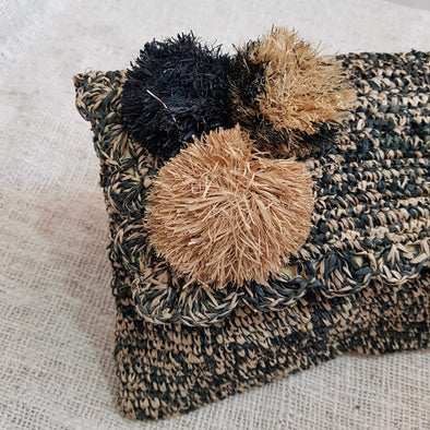 Black & Brown Woven Straw Grass Fold Clutch With Pom Poms - Canggu & Co